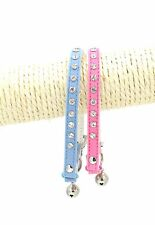 Pet Cat  Rhinestone Studded Collar Safety Elastic Stretch Buckle Adjustable XS-S