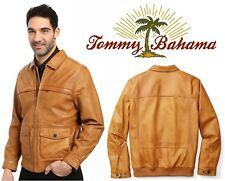 Tommy Bahama Cognac Santiago Aviator Leather Jacket Men's Medium (M) New + Tags