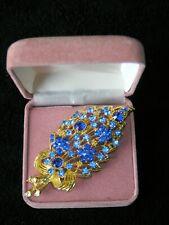 Bouquet Blue Diamonte/Rhinestones Ornate Brooch Unknown Period Large Gold Tone