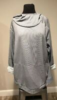 REI Womens Plus Size 2X Gray white Hooded Lightweight Athletic Pullover Top