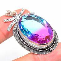 "Bi-Color Tourmaline Gemstone Ethnic Handmade Gift Jewelry Pendant 2.17"" JH"