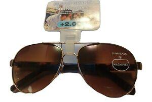 Foster Grant Women's Sun Readers Bifocals Aviator Metal Frames-Sonna TOR +2.00