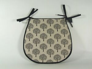 Mulberry Black D-Shaped Garden/Patio/Kitchen/Dining Tie-On seat pads *3 Sizes*