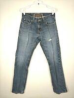 Mens Levis 514 Slim Straight Fit Jeans Blue Medium Wash Distressed Size 29 x 32