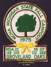 LMH PATCH Badge  1975 GROVELAND OAKS Campout  NCHA MI Campers Hikers MSA State