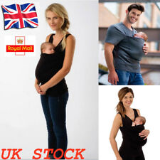 UK Baby Carrier Womens Mens Kangaroo Pocket Shirt Maternity Pregnant T-shirt Top