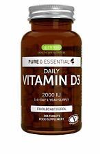 Pure & Essential Vitamine D3 Quotidienne 2000iu Cholécalciférol 1 par jour 1 ...