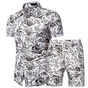 Men Retro Short Sleeve Shirt Shorts Set Two-piece Summer Beach Suit Loungewear L