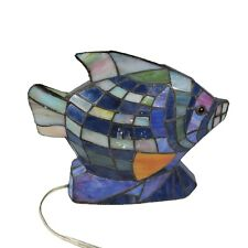 Tiffany Style Stained Glass Tropical Fish Accent Lamp Light Nightlight Nautical