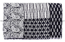 Indian hand block indigo kantha quilt handmade patchwork bedspread king size art