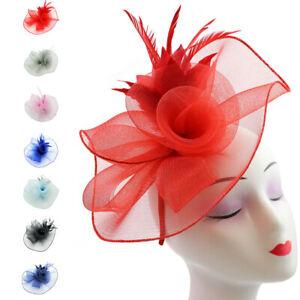 Flower Feather Hair Hat Fascinator Headband Clip Wedding Prom Royal Ascot Races