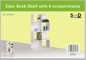 Eden 4 Tier Bookshelf - Scaffold Design - 8 Compartments - White & Oak