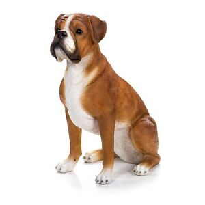 Figurine - Poly Tan Boxer Dog Sitting -  Hand Finished -  Magnificent Appearance