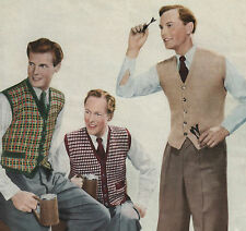 Vintage Knitting Pattern Men's Waistcoats 3 Designs. 38 to 40 Inch Chest.