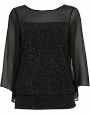 New Wallis Black Sparkle Sheer Long Sleeve Evening Party Top Size Small - Large