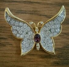 purple Gold Ps Co pin Plainsville Stock Co. 1999 Butterfly Rhinestone