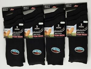 Mens Socks Cotton Rich With Lycra Soft Elastic Comfort Stay Up Everyday Casual