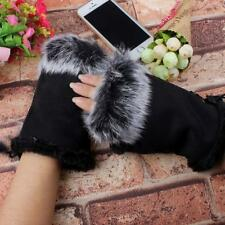 Women Winter Warmer Faux Rabbit Fur Hand Wrist Fingerless Gloves Mittens Hot