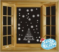 60 Snowflake/ Star & Merry Christmas Tree Window Stickers Reusable Static Cling