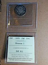 ICCS Canada 1870 Twenty-Five Cent Grade G-4 Obverse 1