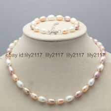 Pretty! Real 7-8mm multi-color Natural Freshwater Rice Pearl Necklace Bracelet S