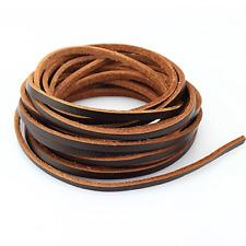 LolliBeads Tm Flat Leather Shoe Lace Braiding Strip Cord Dark Brown_4mm_5M