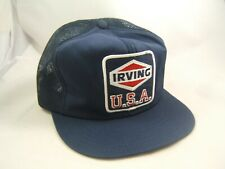Irving U.S.A. Patch Hat Vintage Dark Blue Snapback Trucker Cap