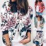 Women Ladies Floral Print Zipper Up Bomber Jacket Casual Suit Coat Outwear Tops