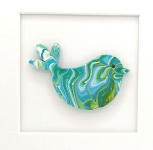 Painting of bird dove acrylic mounted 3d unique unusual gift teal lime green