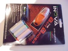 The bait weaver includes 3 spools of bait elastic by inova.fine,med and heavy.
