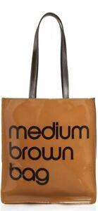 BLOOMINGDALE'S Medium Brown Bag Bloomie's Vinyl Plastic Little Purse Tote Bag