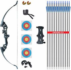 Archery Takedown Recurve Bow Set & Bow Sight & Arrow Rest & 12x Arrows Arm Guard