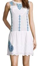 Desigual Embroidered Patterned Dress Sleeveless White And Blue  UK 20 ES 46