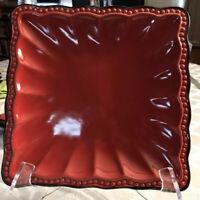 "Roscher HOBNAIL Stoneware Red 8"" Square Scalloped Bead Edge Salad Dessert Plate"