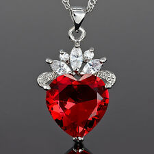 Lady Xmas Jewelry *Heart Cut Red Ruby Pendant Necklace  Jewellery For Dress