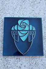 Wonderful Belgium Hemixem Blue Art Nouveau / Art Deco Ceramic Tile Flower