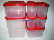 NEW TUPPERWARE MODULAR MATES CHILI RED ESSENTIAL 7 PIECES OVAL SQUARE SET SALES