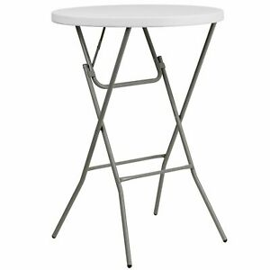 31.25 Rnd Granite Wht Plastic Bar Height Fold Table Gray Powder