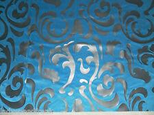 Designer Curtain Fabric BLUE / BLACK Embossed Velvet Swirl Design 0.95m (95cm)