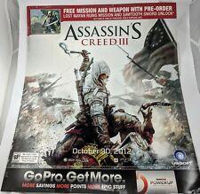 "GameStop Assassins Creed III Promo Poster 2012 28""x24"""