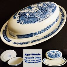 "Vintage (1930s) English Alfred Meakin ""Fair Winds"" 8.5""/22cm Blue Ironstone Dish"