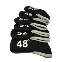 6pcs Black Neoprene Golf Club Wedge Head Cover 48-60 Degree with Two-Side Number