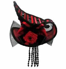 Red & Black Mini Tea Cup Hat with Hair Clips Victorian Steampunk Burlesque