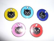 COLOURED NICKEL 'CAT'S HEAD' TAG -CHOOSE FROM 6 COLOURS-ENGRAVING & POSTAGE FREE