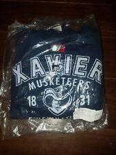 NCAA Xavier Musketeers Unisex 50/50 Blended 8 oz. Hooded Sweatshirt Small Navy