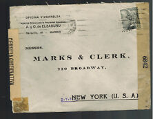 1944 Madrid Spain Dual Censored Cover to New York USA Perfin  Commercial