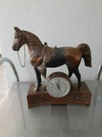 Vintage cast metal copper plate clock Mantle Desk