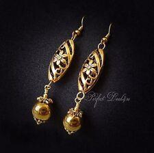 Gold Filigree Earrings Long Dangle Hematite Vintage Gold Style Antique Gold Plat