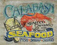 Calabsh Seafood Print NC   art decor print vintage  style sign  shrimp oyster