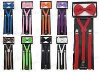 Skinny Suspender and Bow Tie Set for Adults Men Women Teens (USA Seller)